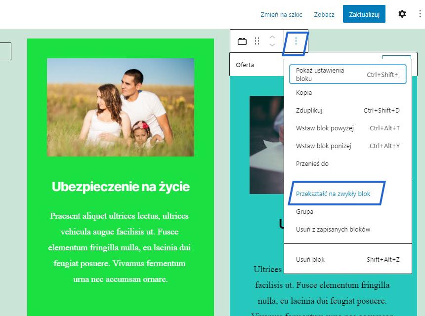 Reusable Blocks szablony strony wordpress wzorce w gutenbergu